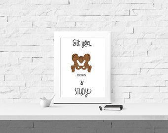 College Student Print  - Student Gift - Dorm Wall Art - Study Print - College Student Gift - College Dorm Decor - Teen Room Decor -