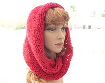 Red Knitted Cowl Scarf