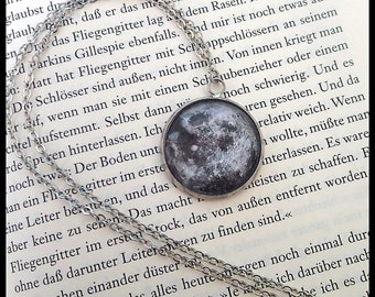 Moon necklace silver full moon galaxy pendant glass cabochon jewelry fullmoon
