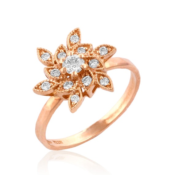 Rose Gold Engagement Ring Victorian Style Ring Floral