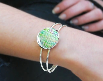 Bangle bracelet with green print for spring or summer, Adjustable Bronze and Silver bangle, Bridesmaid Gift, Birthday Gift, 5040-1