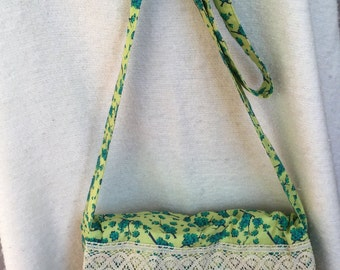 Boho Messenger Bag with Lace Accents