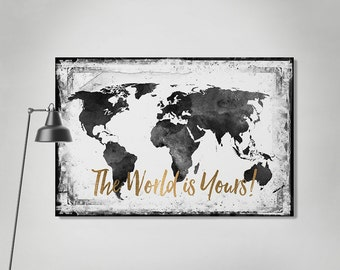 World map canvas art print, travel map, large world map, black & white watercolor map, map painting, guest book, Wall art, ArtPrintCanvas.