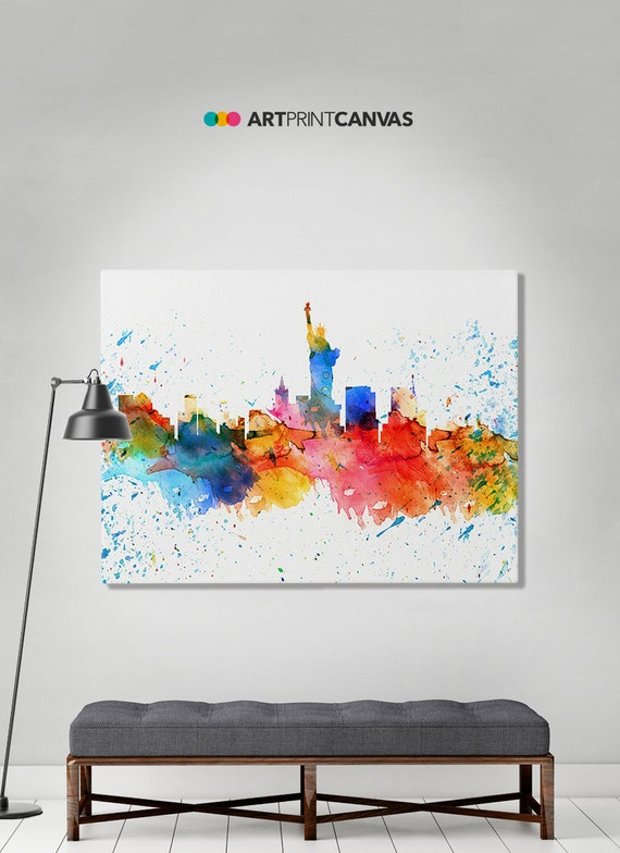 New York print, canvas print, NY watercolor skyline canvas, New York colorful print, Wall art canvas, Home decor Travel print ArtPrintCanvas