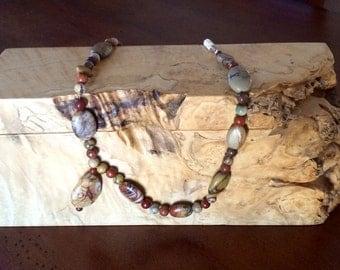 Unique, Mosaic Necklace, Magnesite Gemstones, Brown, Rust, Burgundy