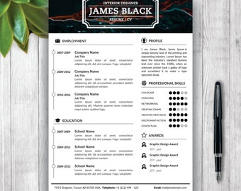 Portfolio template etsy unisex resume template and cover letter portfolio template for word diy printable pronofoot35fo Choice Image