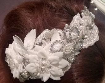 Bridal Headpiece, Tiara, Vintage Headpiece, Ivory, Lace & Swarovski Crystals