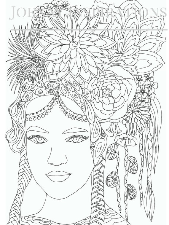 Adult Coloring Book, Printable Coloring Pages, Coloring Pages, Coloring Book for Adults, Instant Download Faces of the World 2 page 1