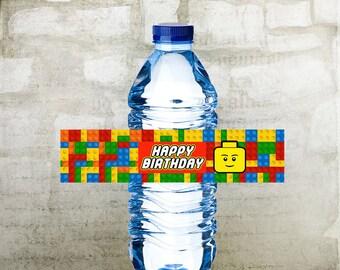 Lego Birthday Water Bottle Labels, Prinable Bottle Labels, INSTANT DOWNLOAD