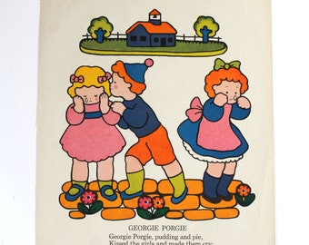 Vintage art print - Georgie Porgie rhyme on one side - more rhymes on the other side - page from a vintage book - nursery decor