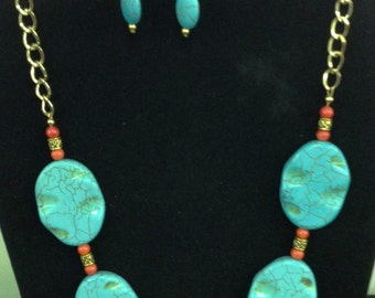 Turquoise and Bamboo necklace set