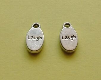 10 pc Laugh Charm Oval Silver - CS2292