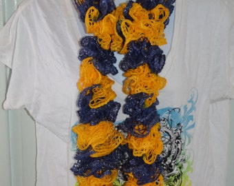 Gold Yellow and Navy Blue Ruffle Scarf. Handmade Crochet Ladies Fashion Winter Scarf. Crocheted Long Winter Scarf.