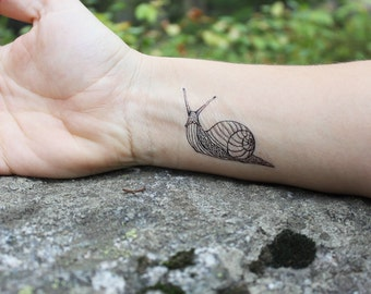 Snail Temporary Tattoo, Black Outline Tattoo, Bug Tattoo, Shell Tattoo