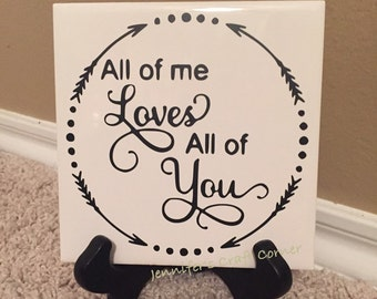 Personalized Gift, Wedding Gift, All of Me Loves All of You, Established Sign, Wedding, Name Sign, Desk Sign, Couples Gift, Gift for Couple