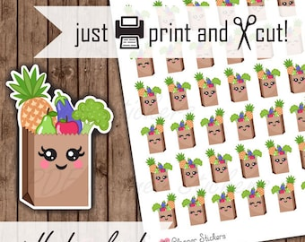 Grocery Planner Stickers, Grocery Shopping Bag Stickers, Printable Kawaii, Vegan Stickers