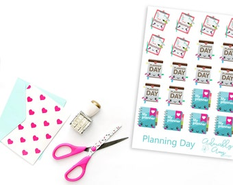 Kawaii Planning Day Planner Stickers for Erin Condren, Plum Planner, Inkwell Press, Kikki K or Any Planner