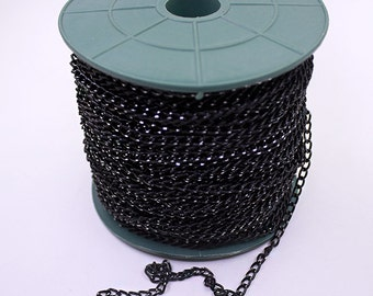 50 Meters - 164 Feet Black Curb Chains (6x4mm) Oval Rolo Chain - Box Chain - Bulk Chain -Necklace Chain - Black Chain