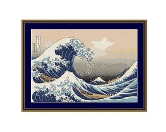 2 for 1 SALE! - The Great Wave off Kanagawa, Japanese Seascape Instant Download Cross Stitch Pattern Chart, Katsushika Hokusai (P-045)