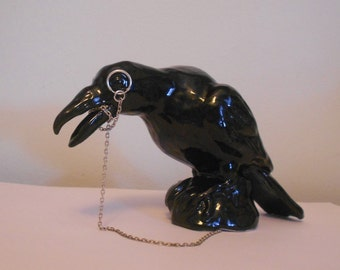 Ceramic Raven Crow Statue with Monocle Hand-made