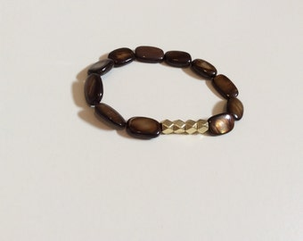 Gold and brown hexagon shell bead bracelet