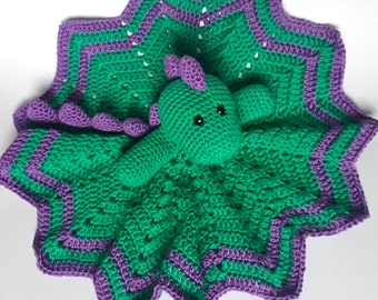 Crochet Dinosaur Baby Comforter / Baby Blankie / Dinosaur Baby Blankie / Green Dinosaur / Crochet Baby Toy / Dinosaur Baby Toy