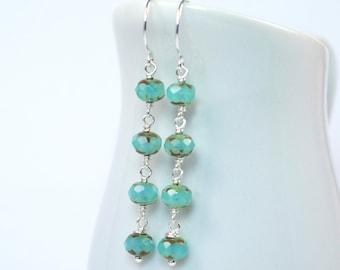Aqua Blue Earrings, Czech Glass, Dangle Earrings, Sterling Silver, Long Dangles, Long Earrings, Handmade Earrings
