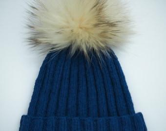 Boy's knit hat with fox pom pom