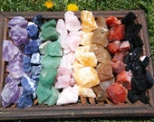 Rough 8 Stone Chakra Set | Amethyst, Sodalite, Aventurine, Rose Quartz, Calcite, Golden Topaz, Red Carnelian, and Tourmaline Crystal Set #1