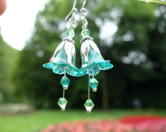 Aqua Earrings - Flower Earrings - Turquoise Earrings - Floral Earrings - Lily Earrings - Dangle Drop Earrings - Turquoise Wedding Bridesmaid