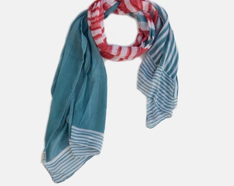 Sky Blue, Watermelon Pink and white stripes Cotton Scarf. printed scarf, Summer scarf, Light scarf, soft scarf,