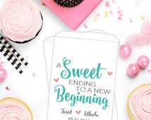 Sweet Ending to a New Beginning, Wedding Candy Bags, Wedding Favor Bag, Candy Buffet Bags, Wedding Favor Bags, Custom Favor Bags, SKW153