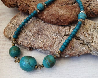 Turquoise stone necklace, vintage bead necklace
