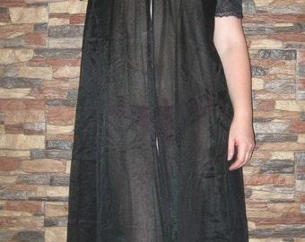 Vintage Black 1960's Sheer Peignoir with Lace  Medium