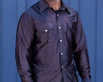 The 45 West Collection // Dyed Black Western shirt //1970's/ 1980's // Rockabilly/western shirt/ black shirt/mens clothing/black shirts