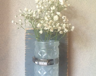 Small Gray Rustic Glass Jar Wall Sconce