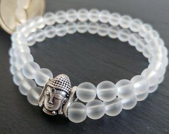 Natural Stone Quartz Bead Bracelet, Silver Buddha Head, Men Bracelets, Bloodstone Bracelets, Gift for men, Unisex Jewellery