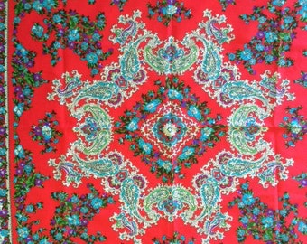 Red with blue green floral & paisley print scarf