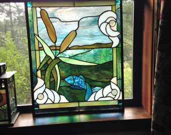 "Blue Fish and Cattails - 18"" width x 24"" height"