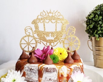 Princess Carriage Cake Topper, Cinderella Carriage with crown in gold glitter, perfect for a girl's birthday party, baby shower or a wedding