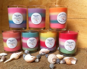 Brightly coloured container citronella soy wax candles.  Approx 60 hour burn.  Perfect for entertaining.