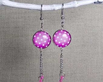 Polka Dot Earrings. 18mm Cabochon Glass Pink Earrings