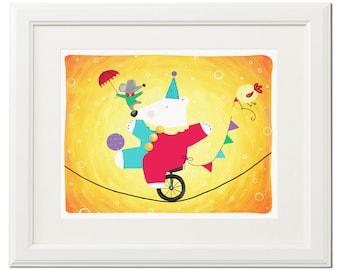 White bear-Colorful-Illustration-Digital poster-Nursery print-Instant download-Printable art-Download file-Home decor-Wall art