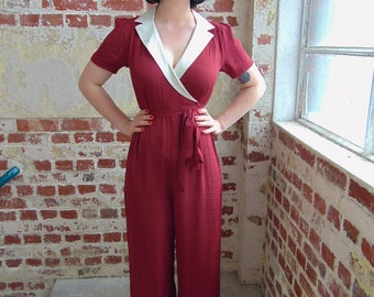40's Vintage Inspired 'Gloria' Jump Suit in Wine & Ivory