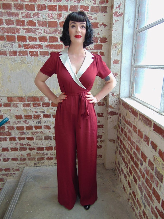 1940s Style Pants & Overalls- Wide Leg, High Waist 40s Vintage Inspired Gloria Jump Suit in Wine & Ivory $118.67 AT vintagedancer.com