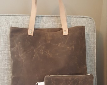 Waxed Canvas Tote and Pouch