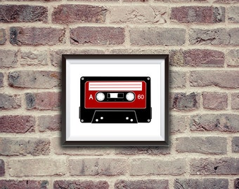 music tape printalble art print 8x10, instant download, wall decor