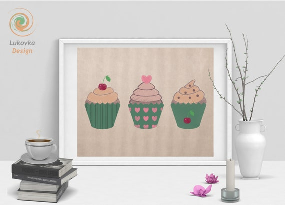 Cupcake wall art cupcake print cupcakes printable by for Cupcake wall art