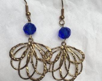 Gold & Cobalt Party Earrings