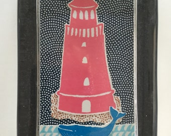 Lighthouse & Whale Collage Paperweight